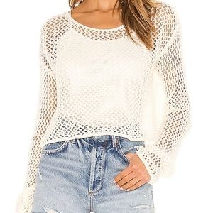 WILDFOX Phoenix Crochet Knit Crop Sweater vanilla